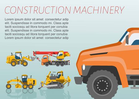 Construction equipment and machinery vector poster. Tractor, trucks crane and bulldozer set of building and construction equipment with orange close-up machine for poster.