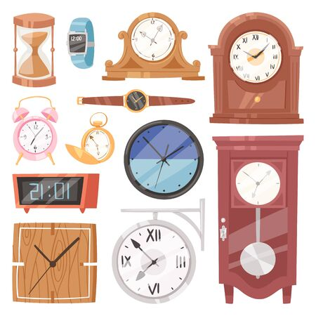 Clock watch with clockwork and clockface or wristwatches clocked in time with hour or minute arrows illustration clocking alarm timer set isolated on white background Stock fotó - 127010356
