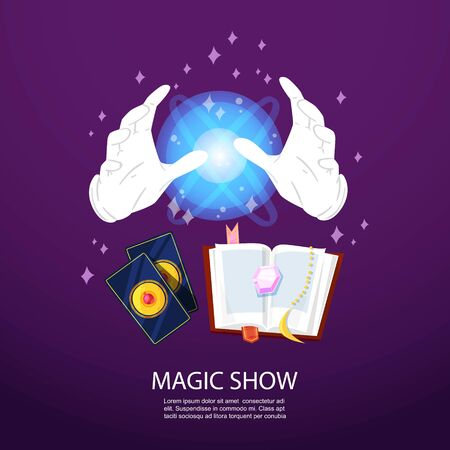 Magic trick and illusionist poster with realistic magician spell book, gloves, magical cards and glowing sphere on purple background. Illusion vector illustration.