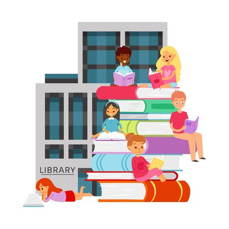 Library with studying different nationality students with books and bookshelves vector illustration. Cartoon illustration of children and students sitting on big library books. Çizim