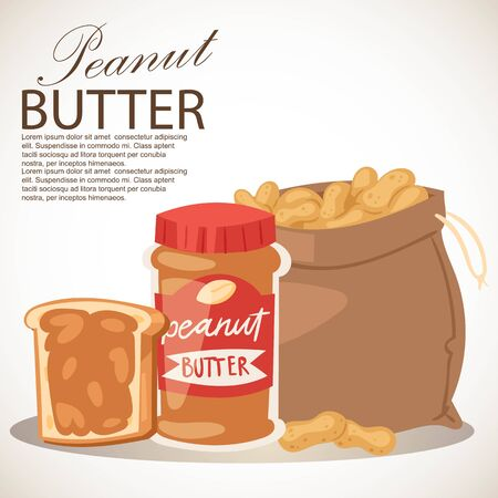 Peanut butter banner vector illustration. Piece of bread with butter. Food paste or spread made from ground dry-roasted peanuts. Sack full of products. Breakfast or lunch. Çizim