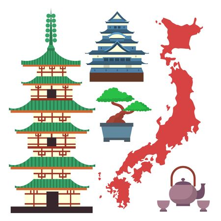 flat colored symbols of Japan travel and asia tourism design packaging fabric traditional fuji oriental architecture art.