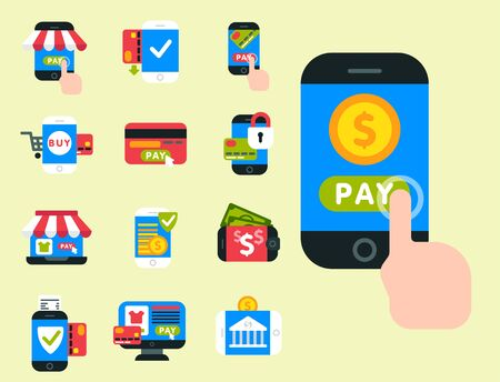 Mobile payments icons smartphone transaction ecommerce wallet wireless connection banking card credit pay.