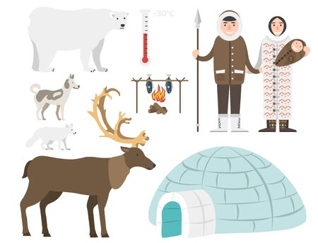 Alaska state symbols flat style america travel animal  outdoor wildlife north arctic concept illustration