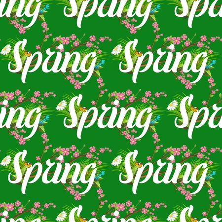 Floral spring seamless pattern background with white text letter ornament beautiful calligraphy flower poster illustration.