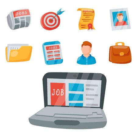 job search icon set office concept human recruitment employment work illustration. Stok Fotoğraf