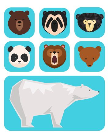 bears different style funny happy animals cartoon predator cute bear character illustration Stok Fotoğraf