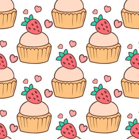 Cute cupcakes and muffins seamless pattern background