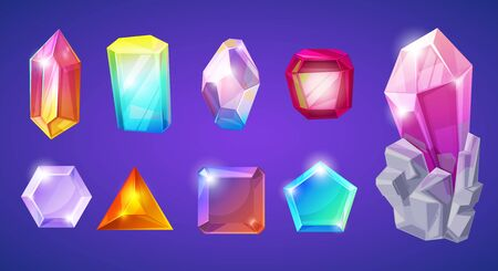 Crystal stone crystalline gem and precious gemstone for jewellery illustration set of jewel or mineral stony crystallization of natural quartz isolated on background 版權商用圖片