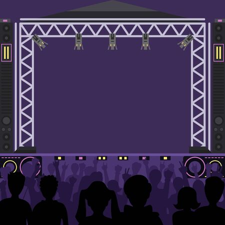 Concert stage scene music stage and night concert party. Young pop group fun zone people silhouette concert crowd in front of bright music stage lights. Pop artists group band scene Stok Fotoğraf