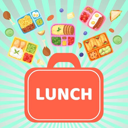 Lunch box with food banner vector illustration. Plastic containers with meal for school, work, university. Eggs with sausages, cherry tomatoes, cookies, boiled potato, noodles. Stok Fotoğraf