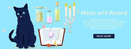 Magic and wizard collection of items to cast a magic spell website design banner vector illustration. Accessories for making magical tricks, ancient book of dead shadows. Black cat Stok Fotoğraf - 127124879