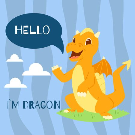 Baby dragon with text hello banner vector illustration. Cartoon funny character with wings. Fairy dinosaurs greeting, invitation card. Magical standing on grass with clouds back. Stok Fotoğraf - 127124881