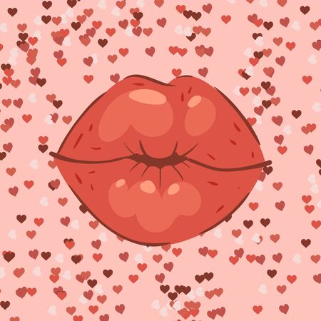 Lip kiss with hearts on background banner vector cartoon illustration. Beautiful red lips or fashion lipstick and sexy mouth kissing lovely on valentines day poster, greeting card. Stok Fotoğraf - 127124882