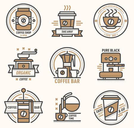 Coffee logo badge monogram design cafe sign coffeeshop monogram and restaurant symbol retro food drink coffee monogram business menu badge shop sticker icon