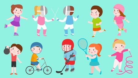 Sport kids characters boys and girls sportsmen play games kids activity children playing various sports games hockey, football, gymnastics, fitness, tennis, basketball, roller skating, bike Stok Fotoğraf