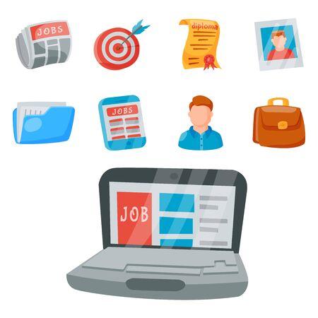 job search icon set office concept human recruitment employment work illustration. Stok Fotoğraf - 127124886