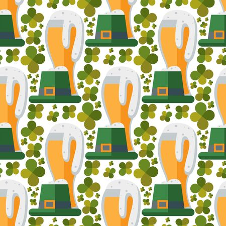 Beer glass seamless pattern clover patrick celebration refreshment brewery oktoberfest background.
