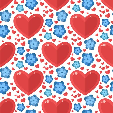 Red heart flowers seamless pattern background flora color card beautiful celebrate bright emoticon holiday art decoration.