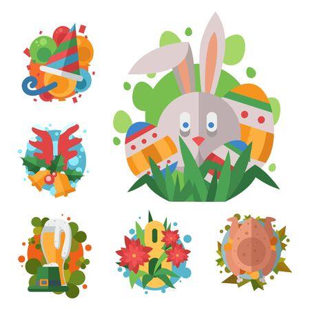 Happy holidays different icons holidays symbols decoration traditional celebration gift badge. Stok Fotoğraf