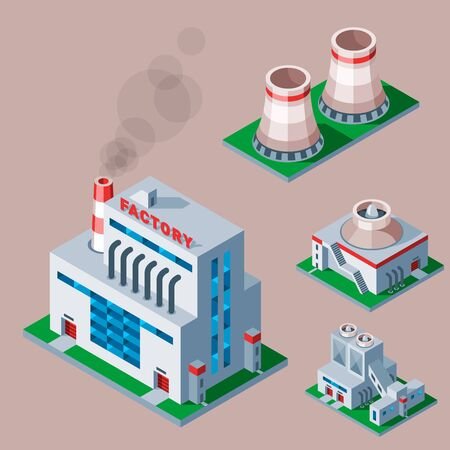 Isometric factory building icon industrial element warehouse architecture house illustration
