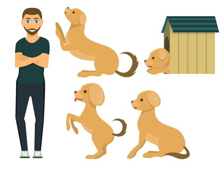 Cute playing dog character funny purebred puppy comic happy mammal breed animal character illustration. Stok Fotoğraf