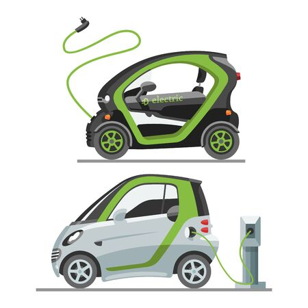 Electric car with solar panels eco transport illustration automobile socket electrical car battery charger. Stok Fotoğraf