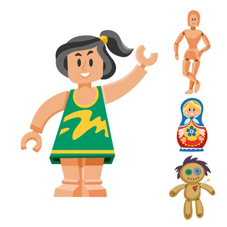 Different dolls toy character game dress and farm scarecrow rag-doll illustration