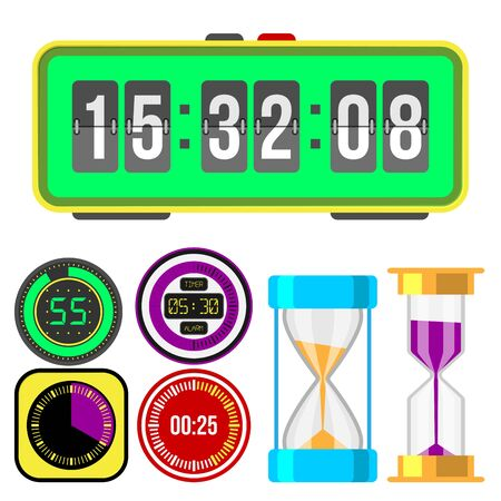 Clock watches timer colorful measurement tools number digital information stopwatch illustration