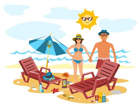 Man and woman couple vacation summer time on the beach sand tropical nature illustration. Stok Fotoğraf