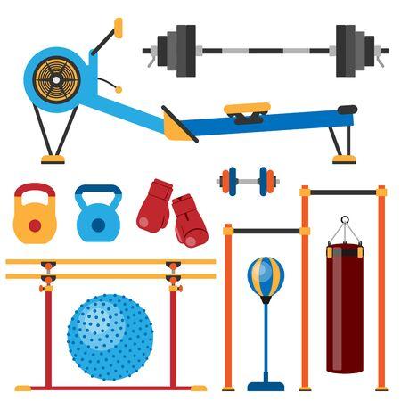 Fitness gym club athlet sport activity body tools wellness dumbbell equipment illustration Stok Fotoğraf