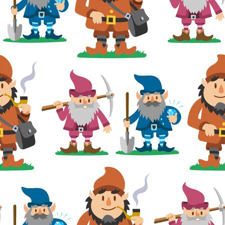 Fairy tale fantastic gnome seamless pattern background dwarf elf character poses magical leprechaun cute fairy tale man illustration Zdjęcie Seryjne