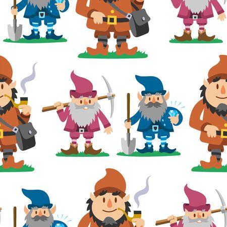 Fairy tale fantastic gnome seamless pattern background dwarf elf character poses magical leprechaun cute fairy tale man illustration Stok Fotoğraf