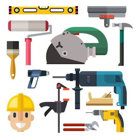 Construction man and building tools carpenter industry worker equipment illustration. Stok Fotoğraf - 127333945
