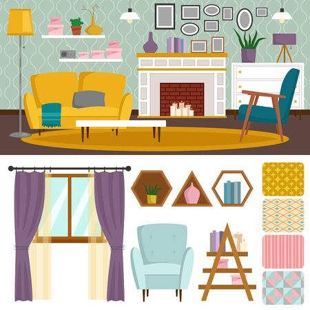 VIP vintage interior furniture rich wealthy house room with sofa set brick wall background illustration. Stok Fotoğraf