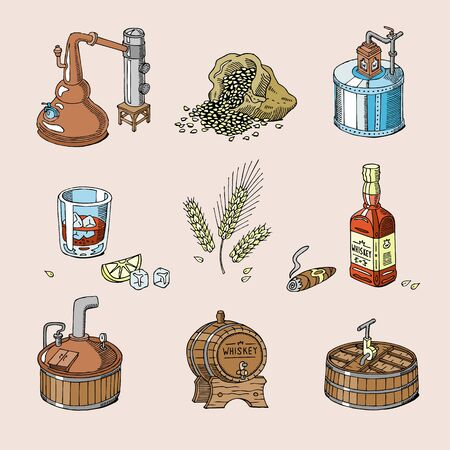 Whiskey alcohol beverage brandy in glass and drink scotch or bourbon in bottle illustration set of distillation isolated on background Stok Fotoğraf
