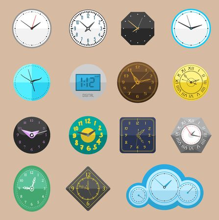 Clock watch different clockwork and clockface or wristwatches clocked in time with hour or minute arrows illustration clocking alarm timer set isolated on white background Stok Fotoğraf - 127473457