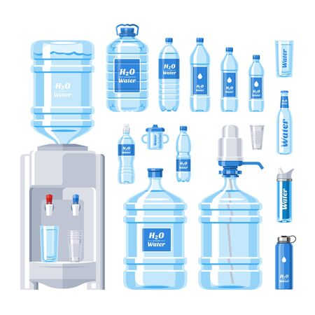 Water bottle water drink liquid aqua bottled in plastic container illustration set of bottling water cooler isolated on white background