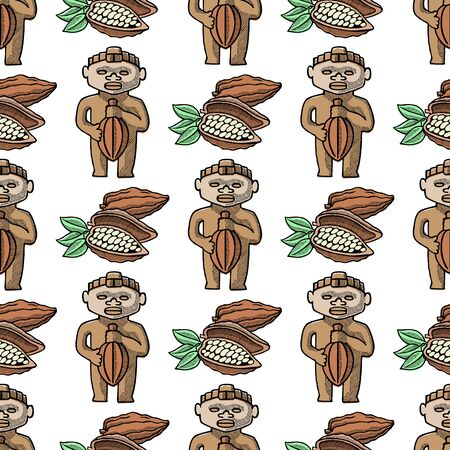 cocoa hand drawn sketch seamless pattern chocolate sweet background illustration.