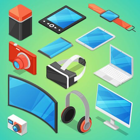 Gadget digital device with display of laptop or tablet and camera isometric illustration set of electronic equipment virtual headset and headphone isolated on background Stok Fotoğraf - 127333776