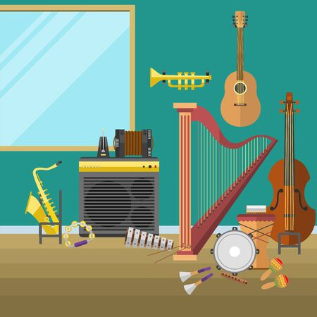 Music studio musical instruments producer record volume interior illustration.