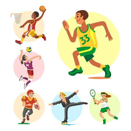 Health sport and wellness flat people characters sporting man activity woman athletic Illustration. Stok Fotoğraf - 127333800