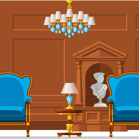 VIP vintage interior furniture rich wealthy house room with sofa set brick wall background illustration. Stok Fotoğraf - 127333803