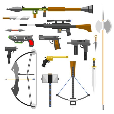 Weapons guns pistols submachine assault rifles sniper knife handgun bullets icons illustration.
