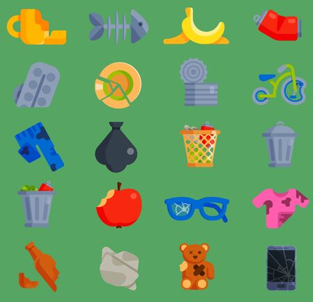 set of waste garbage icons for recycling container reuse separation household waste garbage household waste garbage icons garbage broken trash rubbish recycling ecology environment