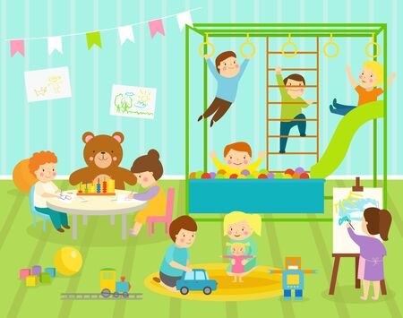 Boy kids kindergarten room with big slide swing with light furniture decor. Young baby kids playground toys robot, train,balls playroom apartment decorating Stok Fotoğraf - 127333809