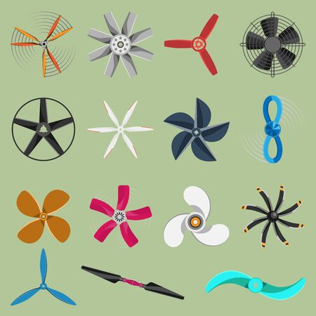 fans propellers icons isolated object. Propeller fan icons cool ventilation ship symbol retro cooler boat equipment. Ventilator symbol wind equipment propeller fan icons Stok Fotoğraf - 127333810