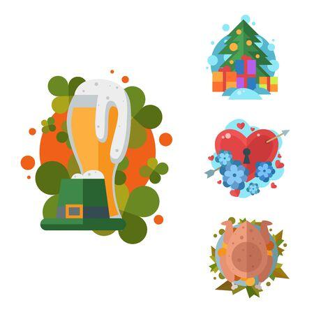 Happy holidays different icons holidays symbols decoration traditional celebration gift badge. Stok Fotoğraf - 127333811