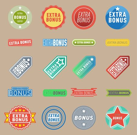 Super extra bonus labels banners text color business shopping concept. Internet promotion shopping extra bonus labels. Extra-bonus labels advertising discount marketing Stok Fotoğraf - 127333812