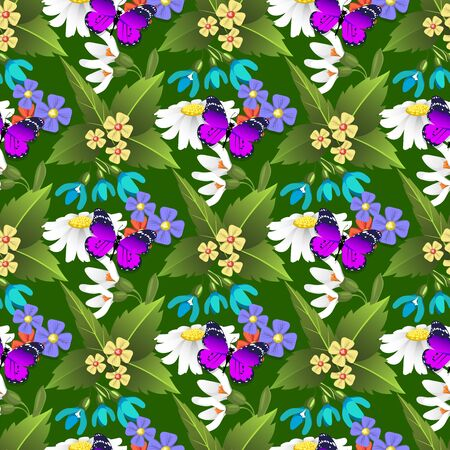 Nature flower and butterflies illustration seamless pattern background floral butterfly summer